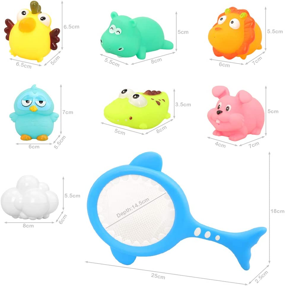 Barwa Baby Bath Toys Cartoon Animal Water Floating Bathtub Shower Toys Fun Tub Toys with Fishing Net Squirt Water Game Toys for Baby Fun Learning Shower /& Swimming Toys for Toddlers
