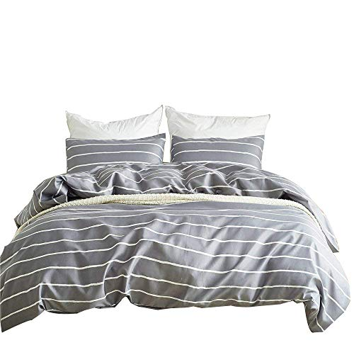 WINLIFE Striped Duvet Cover Stripes Gray White Simple Comforter Cover King (Cover And Brown Duvet Striped White)