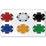 Memory Foam Bath Mat,Poker Tournament Decorations,Collection of Colored Casino Chips Realistic Tokens Set Image DecorativePlush Wanderlust Bathroom Decor Mat Rug Carpet with Anti-Slip Backing,Multico