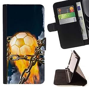 Momo Phone Case / Flip Funda de Cuero Case Cover - Balón de fútbol llameante;;;;;;;; - Samsung Galaxy Note 3 III