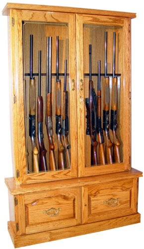 Amazon Solid Oak 12 Gun Cabinet Fza021 Wood Gun Cabinets
