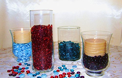 Creative stuff glass 4 pounds teal glass gems vase for 15 creative vase fillers