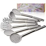 REMIHOF Kitchen Utensil Set - 6 Piece Nonstick Silicone and Stainless Steel Cooking Utensils & Spatulas - Spatula Turner Ladle Pasta Server - Best Kitchen Tool Set Gift