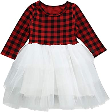 Infant Toddler Baby Girls Dress Long Sleeve Plaid Patchwork Tutu Skirt Party Princess Casual Outfit Clothes