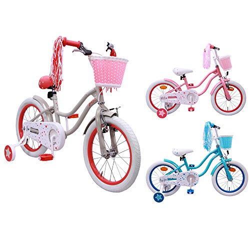 AMIGO Superstar – Kids bike – 16 Inch – Girls – With training wheels and coaster brake – Beige