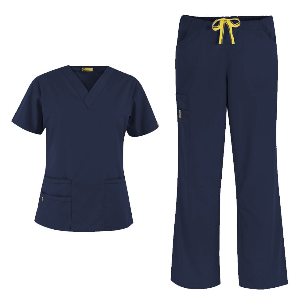 WonderWink Origins Women's 6016 Bravo Top & Romeo Pant 5026 Medical Uniform Scrub Set, Mix & Match Sizes (Navy - XXX-Large / XXL Petite)