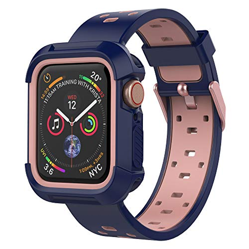UMTELE Case and Band Compatible with Apple Watch Series 3/2/1 38mm, Silicone Strap with Ventilation Holes and Shock Resistant Bumper Cover Replacement for Apple Watch Series 3/2/1(Blue/Pink,38mm)