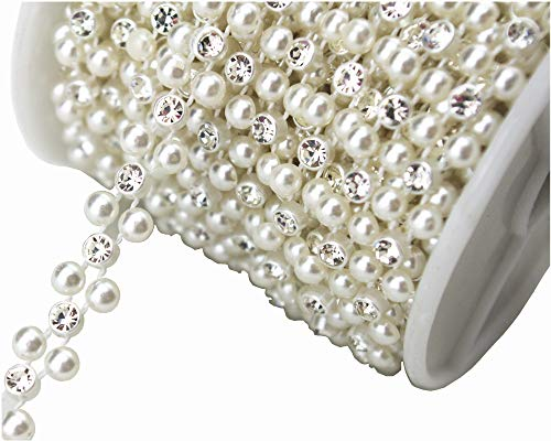 FQTANJU 22 Yards 10 mm Large White Pearls Faux Crystal Beads for Flowers Wedding Party Decoration