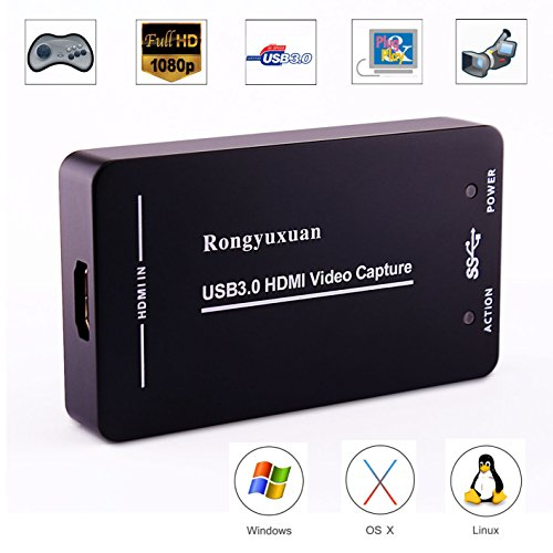 HDMI Video Capture,Rongyuxuan HDMI to USB3.0/2.0 Dongle 1080P 60FPS Drive-Free Capture Card Box for Windows Linux Os X System (Silver Hdmi Capture)