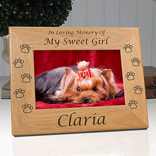 - Personalized Dog Memorial Engraved Wood 4x6 Picture Frame with Choice of Quotes (Quote 7)