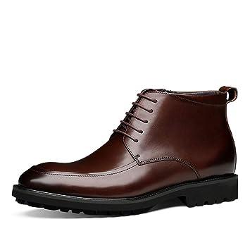 Hombres Zapatos de Cuero Botas con Cordones Botines Negro marrón para Inteligente Formal Casual Negocios Boda Talla 38-44: Amazon.es: Deportes y aire libre