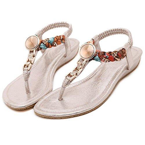 COOLCEPT Mujer Moda Ankle Strap Thongs Tacon de cuna bajo Slingback Flip Flop Zapatos Oro