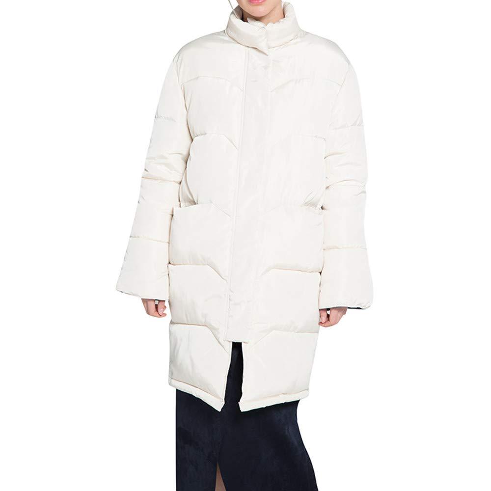 AOJIAN Women Jacket Long Sleeve Outerwear Warm High Collar Zipper Button Quilted Solid Coat Beige by AOJIAN