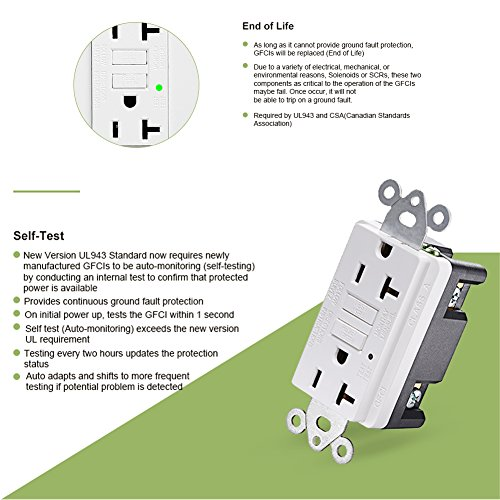 GFCI Wall Outlet 20Amp / 15Amp Safety Leakage Protection Socket Pack of 2 or 5 (5, 20A without safety door) by ThreeCat (Image #8)