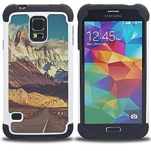 """SAMSUNG Galaxy S5 V / i9600 / SM-G900 - 3 en 1 impreso colorido de Altas Prestaciones PC Funda chaqueta Negro cubierta gel silicona suave (Camino de la nieve Empty Sky"""")"""