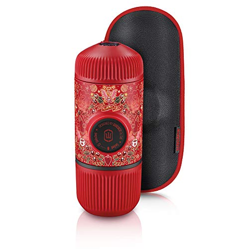WACACO Nanopresso Portable Espresso Maker Bundled with Protective Case, Red Tattoo Pixie Limited Edition, Extra Mini Travel Coffee Maker, Compatible with Ground Coffee