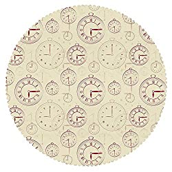 iPrint Anti-Bacterial Round Tablecloth [ Clock,Vintage Watches with Roman Digits Antique Machine Time Pattern Illustration Decorative,Pale Yellow Magenta ] Fabric Kids Home Tablecloth Designs