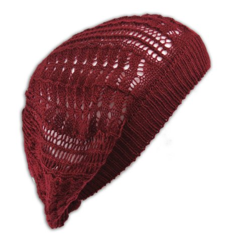 - Womens Fashion Crochet Beanie Hat Knit Beret Skull Cap Tam (Burgandy)