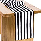Letjolt Classical Black and White Striped Cotton Canvas Table Runner for Wedding Decorations Bachelorette Party Decorations Off to College Decorations, 12'' x 72''