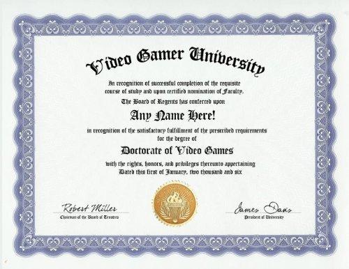 com video game videogame gamer degree custom gag diploma  com video game videogame gamer degree custom gag diploma doctorate certificate funny customized joke gift novelty item by gd novelty items