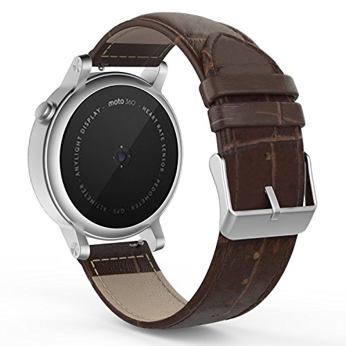 MoKo Band Compatible for Samsung Gear S2 Classic/Galaxy Watch 42mm, Leather Crocodile Pattern Replacement Strap for Gear S2 Classic SM-R732/R735/Gear Sport/Moto 360 2nd Gen/forerunner 645 music, BROWN