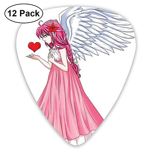 Guitar Picks 12-Pack,Fairytale Character Angel In A Pink Dress Holding A Heart Romantic Valentines Day