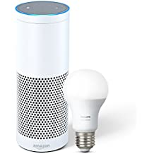Echo Plus with built-in Hub – White + Philips Hue Bulb included