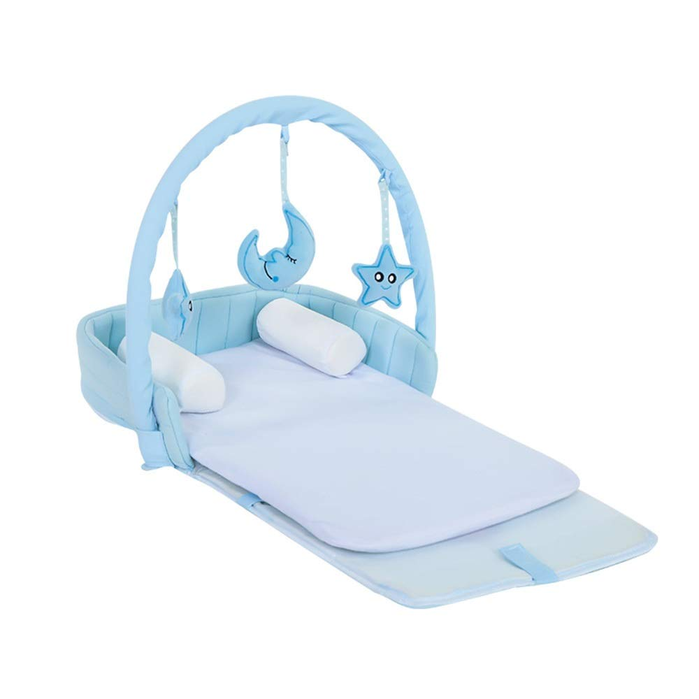 HANSHAN ベビーベッド ベビーベッド、ベビーベッド抗圧力新生児バイオニックベッド寝袋多機能ポータブル折りたたみベッド2色0-1歳29×13インチ (色 : 青)  青 B07RJS4M9Q