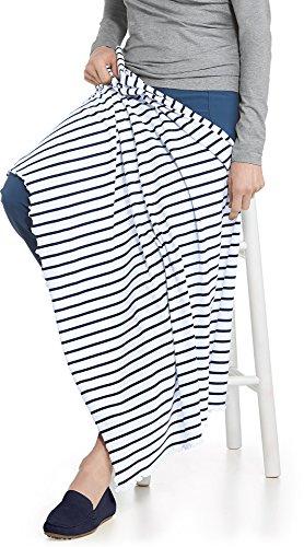 Coolibar UPF 50+ Sun Blanket - Sun Protective (One Size- White/Navy Stripe)