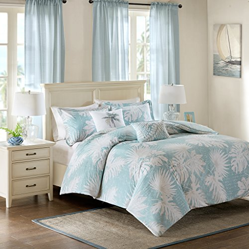 Aqua King Duvet - Harbor House Palm Grove Duvet Cover Cal King Size - Aqua, Tropical Palm Tree Leaf Floral Duvet Cover Set - 5 Piece - Cotton Sateen Light Weight Bed Comforter Covers