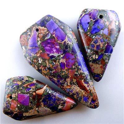 FidgetGear 3pcs Purple Sea Sediment Jasper &Pyrite Freeform Pendant Bead 46x22x6mm AJSY0205