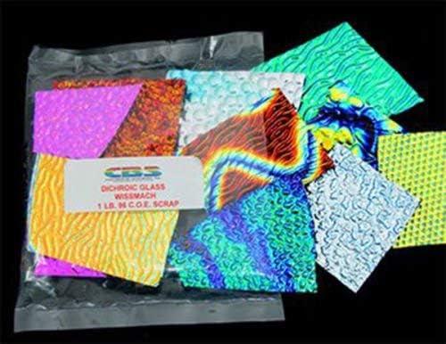 Scrap on Black Rainbow Art Glass 1//2 lb 90 COE CBS Splatter Pattern Dichroic Jewelry
