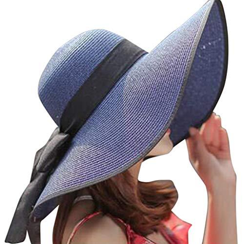 TOTOD Sunhat for Women -Elegant Big Brim Straw Hat Sunshade Floppy Wide Brim Hats Latest Bowknot Folding Beach Cap Navy -
