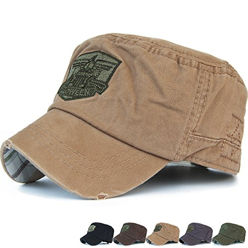 REDSHARKS Cadet Cap Military Army Flat Top Hat Adjustable American USA Eagle Short Brim Khaki