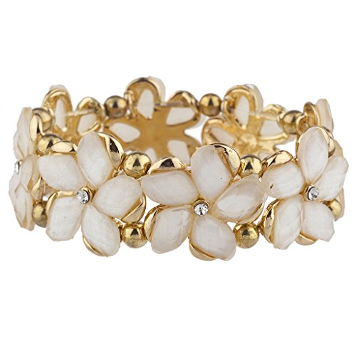 Lux Accessories Gold Tone Ivory Crystal Shimmer Flower Floral Stretch Bracelet