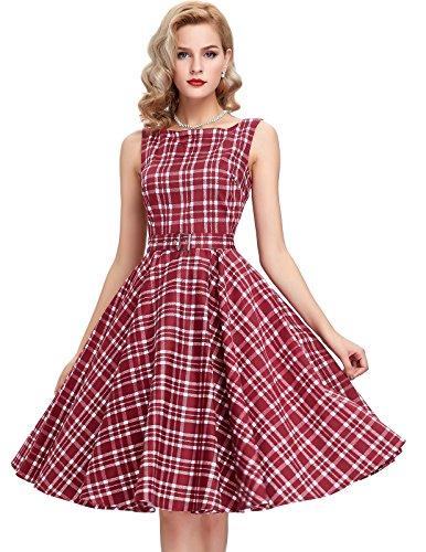 Belle Poque Red Plaid 2018 New Homecoming Dress Tea Length M - Retro Plaid