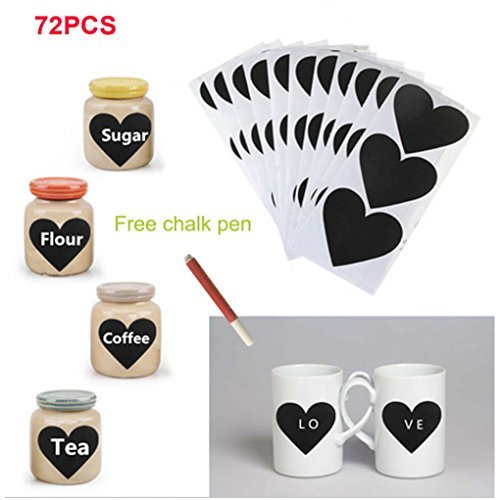 Smart 2016 Christmas 72pcs Heart Pattern Chalkboard Label Chalk Pen Stickers Wall Kitchen Cup Bottle Decor Sticky Decal Gift+1 White Liquid Chalk - Labels Pattern
