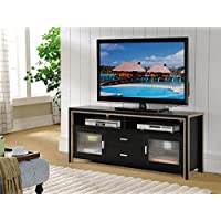 Smart Home Black & Dark Taupe 60 Inch Entertainment Center Console TV Stand