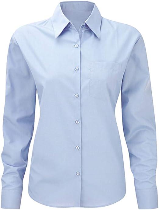 My Custom Style Camisa de Mujer de Negocios de Manga Larga de Color Azul. Talla L: Amazon.es: Hogar