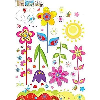 Baomabao Decals Colorful Flowers of Sunshine Life Wall Sticker Living Room