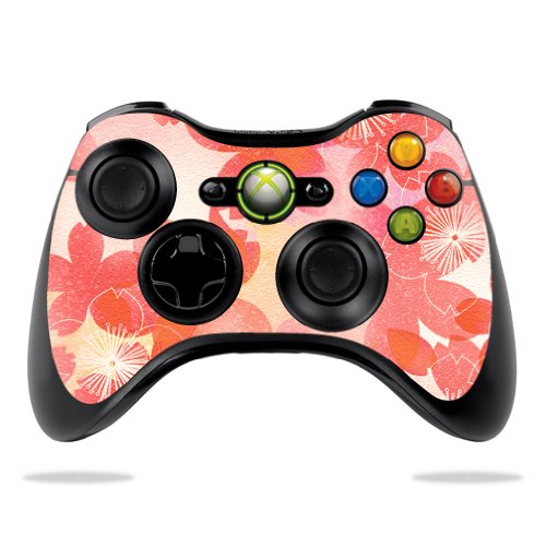 (Protective Vinyl Skin Decal Skin Compatible with Microsoft Xbox 360 Controller wrap Sticker Skins Peach Flowers)