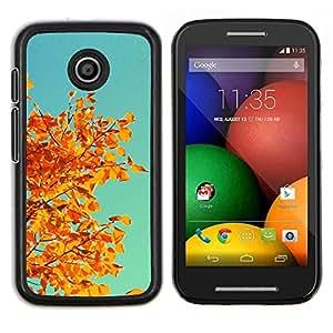 Caucho caso de Shell duro de la cubierta de accesorios de protección BY RAYDREAMMM - Motorola Moto E - Otoño Naranja Amarillo Hojas rama de árbol