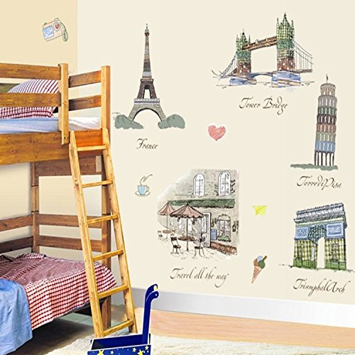 ORDERIN Christmas Gift Wall Stickers Cute Item Hot Sale Famous Buildings Removable Mural Wall Decal for Living Room Kids Wall and Home Decor