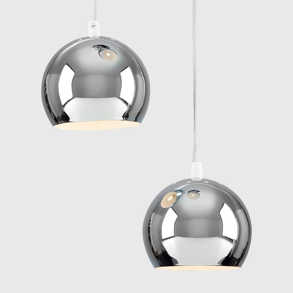 Retro Eyeball 3 Way Droplet Ceiling Pendant Light Fitting in a Matt Black//Copper Finish