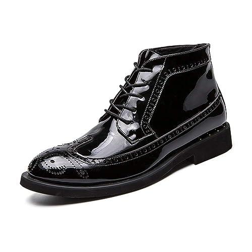 Botines de Moda para Hombre Botines de Trabajo Casual Otoño e Invierno Tallado clásico de Charol Brogue High Top Boot.: Amazon.es: Zapatos y complementos