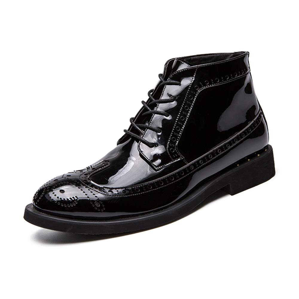 Black CHENJUAN shoes Men's Fashion Ankle Work Boot Casual Autumn and Winter Classic Carved Patent Leather Brogue High Top Boot