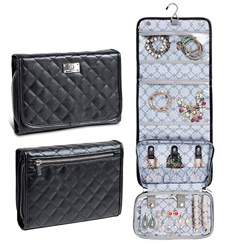 First Avenue Travel Jewelry Organizer Bag, Travel Jewelry Cases for Women, Hanging Jewelry Organizer, Jewelry Roll Pouch with Compartments, Soft Quilted Leather - Black