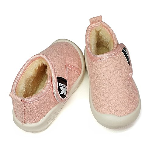 Baby Boys Girls Snow Boots Double Velcro Kids Causal Winter Shoes With Warm Fleece (4.5 M US Toddler, Pink-811)