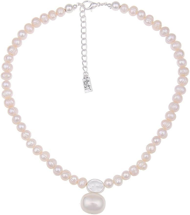 Lollia Damen S/ü/ßwasserzuchtperlenkette doppelreihig wei/ß mit eckiger Silberschlie/ße 54 cm