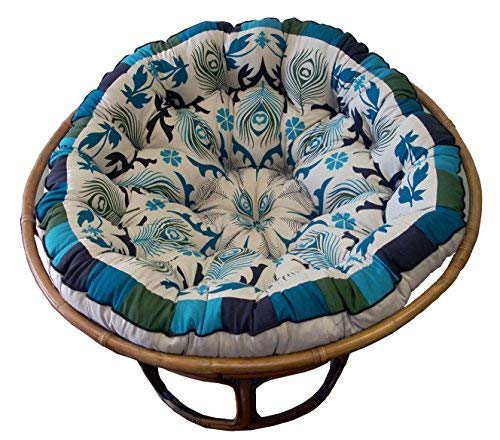 Cotton Craft Papasan Peacock Blue Overstuffed Chair Cushion, Sink into our comfortable Papasan, Thick and Oversized, Pure 100% Cotton duck fabric, Fits Standard 45 inch Round Chair, Chair not included (Rattan Replacement Chair Swivel Cushions)